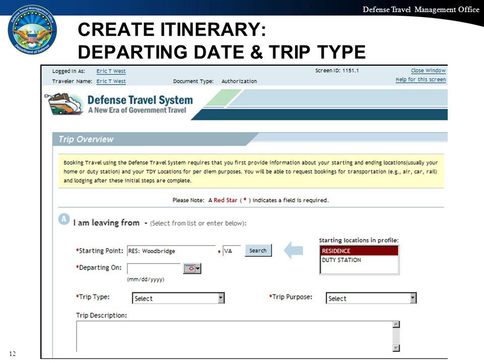 CREATE ITINERARY: DEPARTING DATE & TRIP TYPE