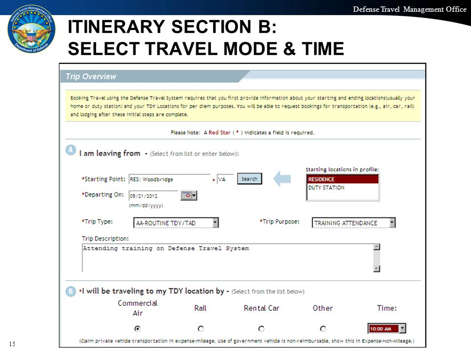 ITINERARY SECTION B: SELECT TRAVEL MODE & TIME