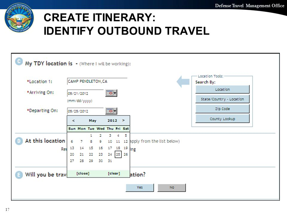 CREATE ITINERARY: IDENTIFY OUTBOUND TRAVEL