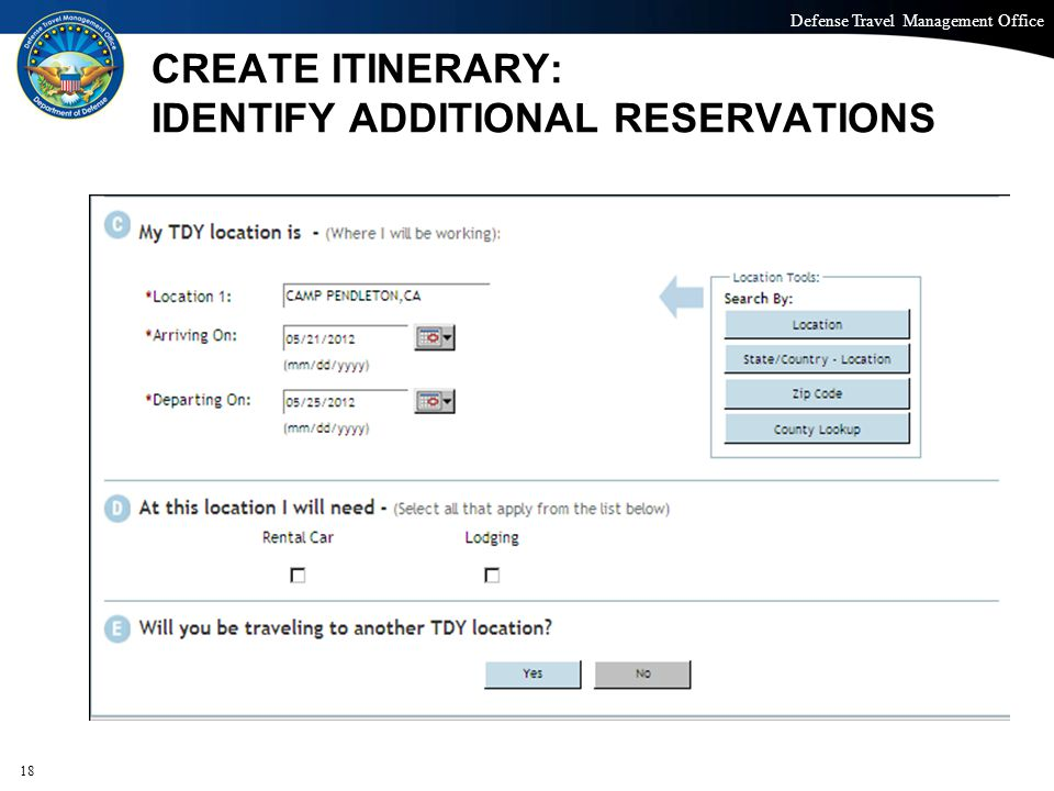 CREATE ITINERARY: IDENTIFY ADDITIONAL RESERVATIONS