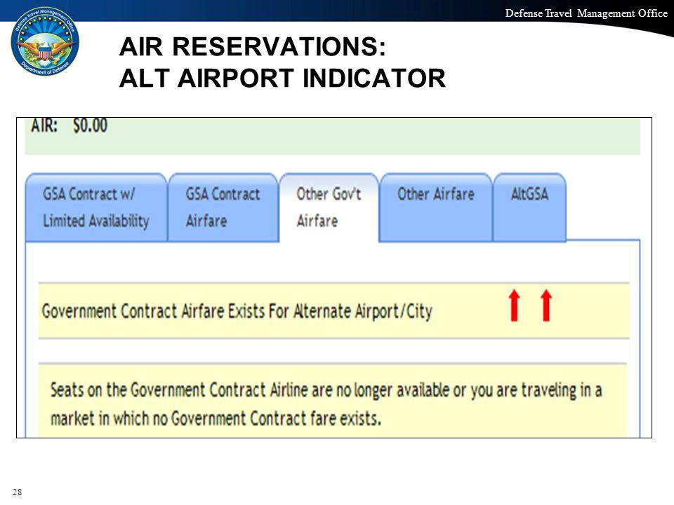 AIR RESERVATIONS: ALT AIRPORT INDICATOR
