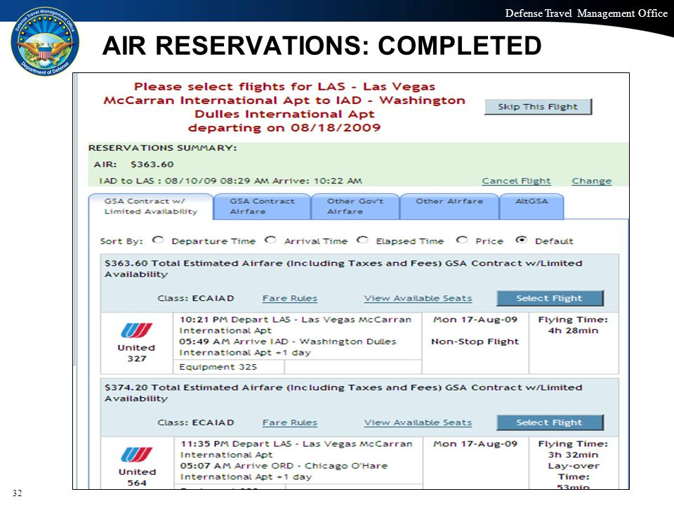 AIR RESERVATIONS: COMPLETED