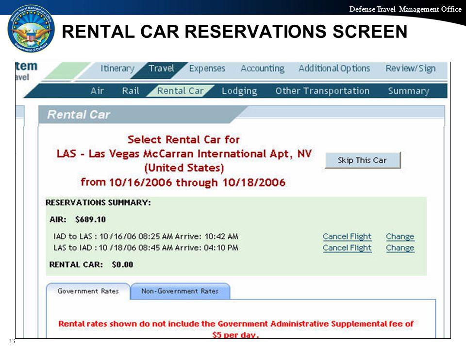 RENTAL CAR RESERVATIONS SCREEN
