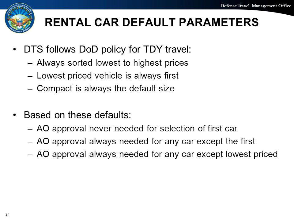 RENTAL CAR DEFAULT PARAMETERS