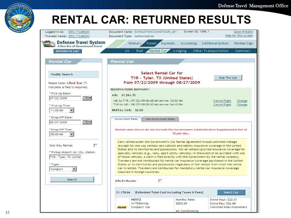 RENTAL CAR: RETURNED RESULTS