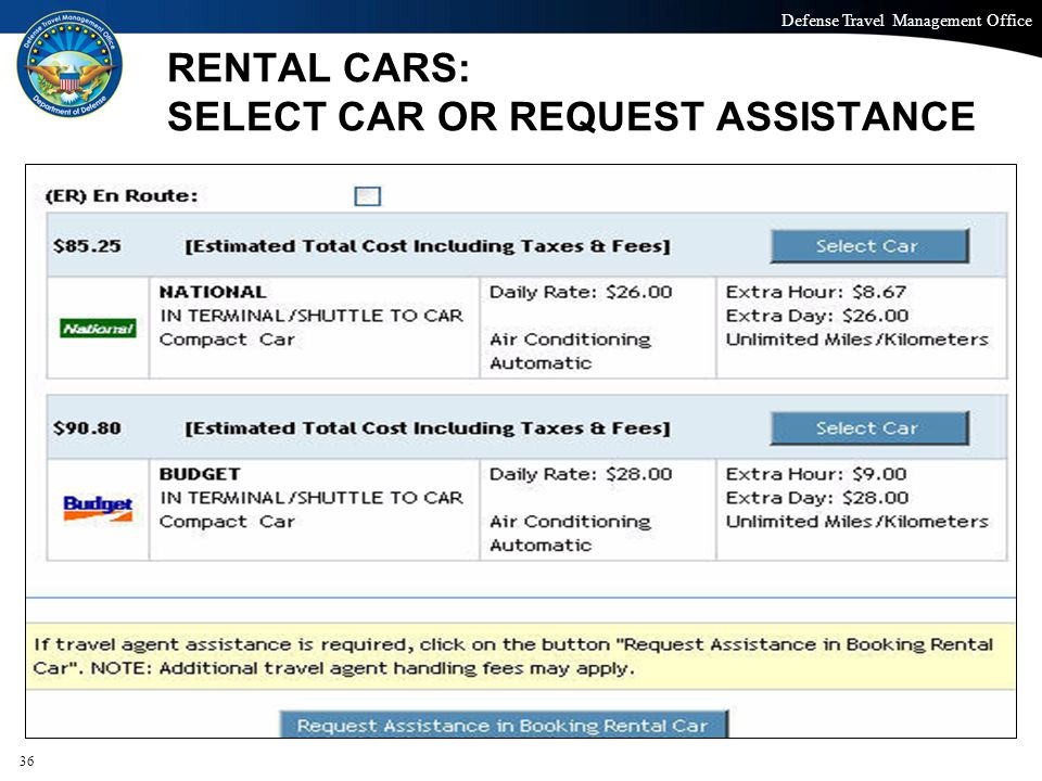 RENTAL CARS: SELECT CAR OR REQUEST ASSISTANCE