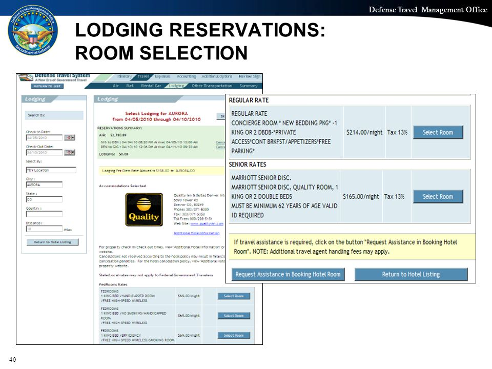 LODGING RESERVATIONS: ROOM SELECTION