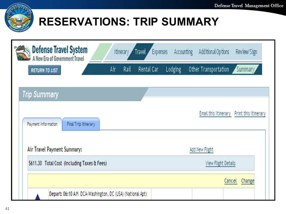 RESERVATIONS: TRIP SUMMARY