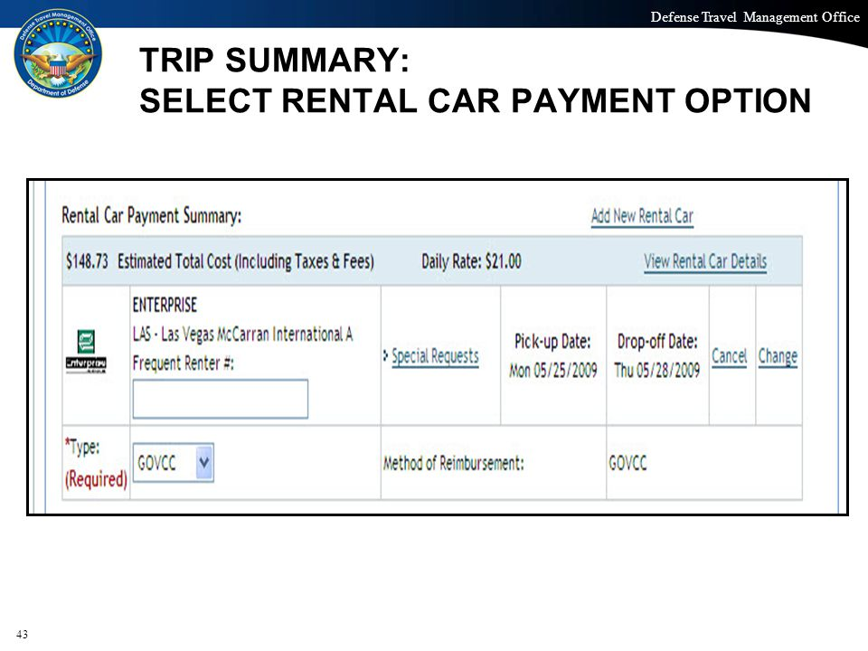 TRIP SUMMARY: SELECT RENTAL CAR PAYMENT OPTION