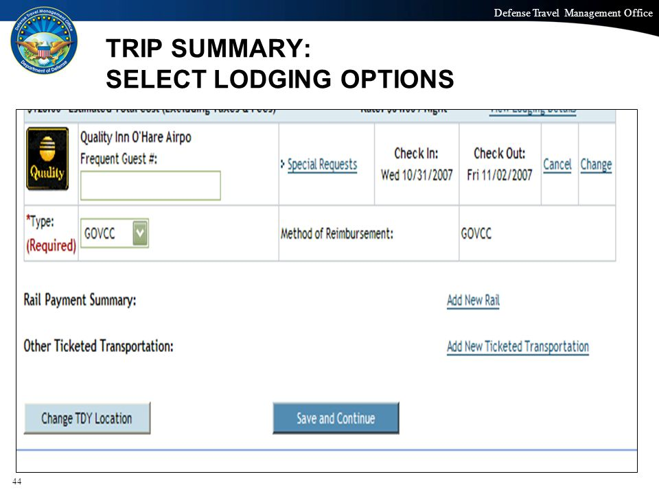 TRIP SUMMARY: SELECT LODGING OPTIONS