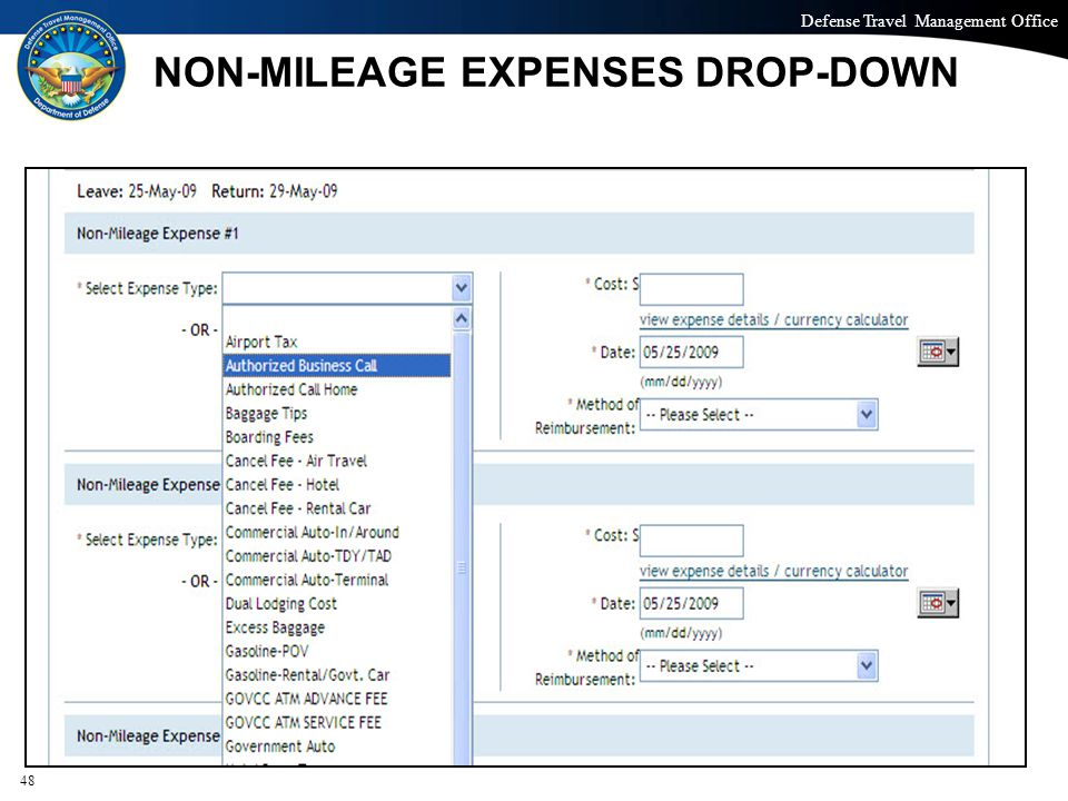 NON-MILEAGE EXPENSES DROP-DOWN