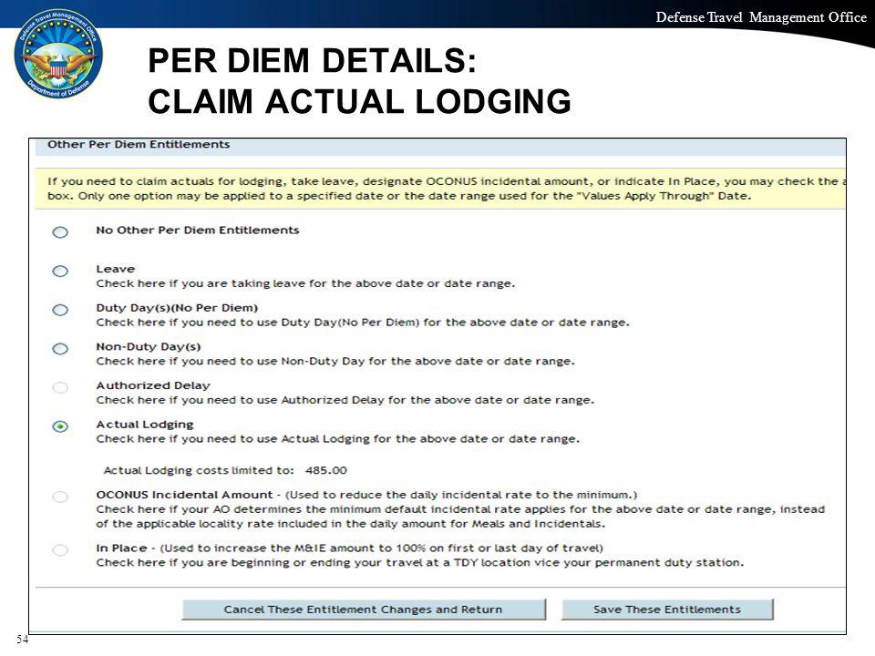 PER DIEM DETAILS: CLAIM ACTUAL LODGING