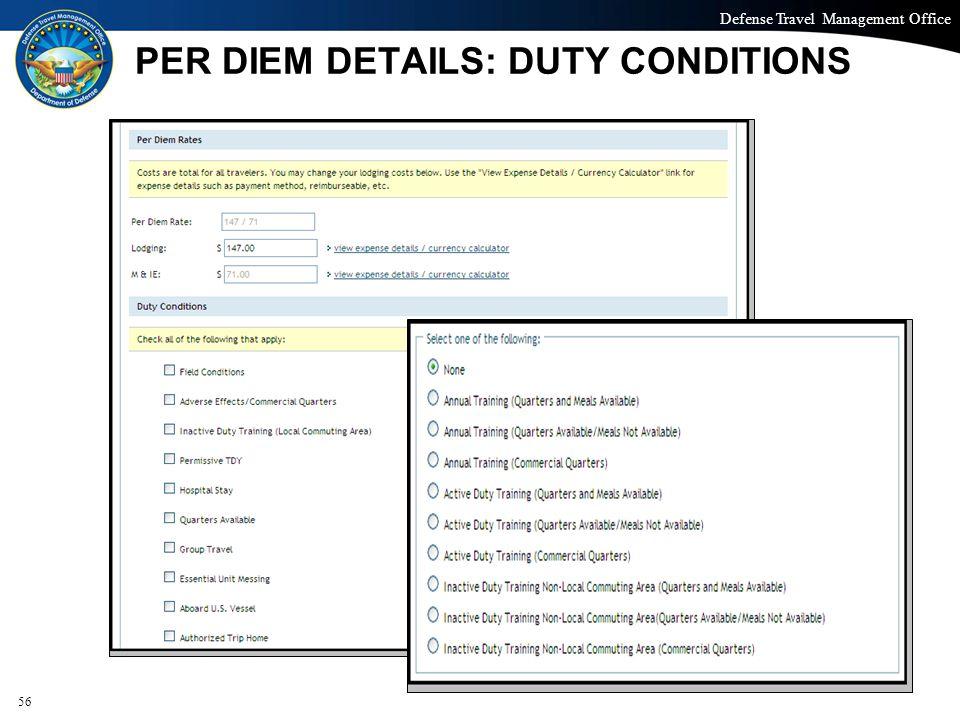PER DIEM DETAILS: DUTY CONDITIONS