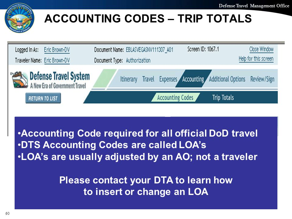 ACCOUNTING CODES – TRIP TOTALS