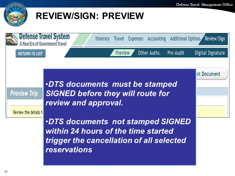 REVIEW/SIGN: PREVIEW DTS documents must be stamped SIGNED before they will route for review and approval.