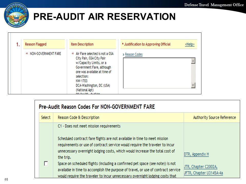 PRE-AUDIT AIR RESERVATION