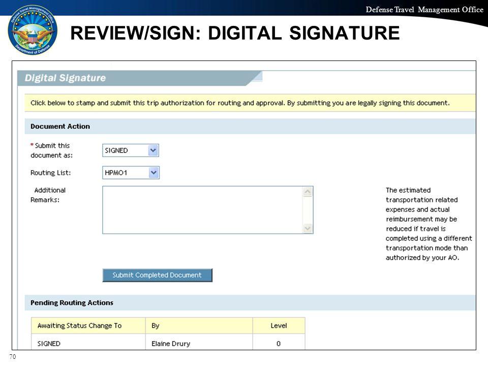REVIEW/SIGN: DIGITAL SIGNATURE