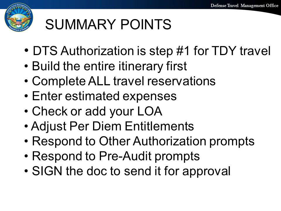 DTS Authorization is step #1 for TDY travel