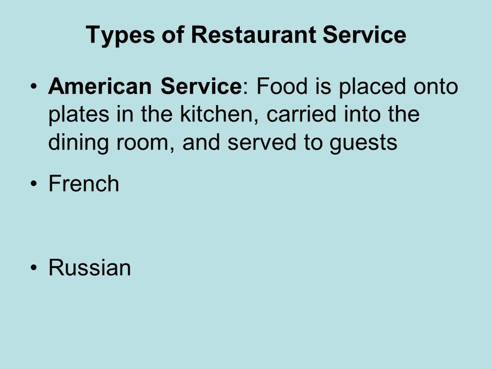 Types of Restaurant Service