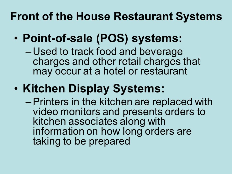 Front of the House Restaurant Systems