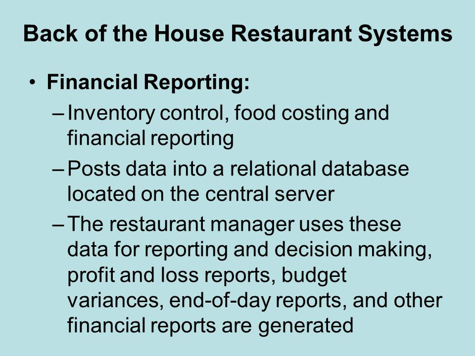 Back of the House Restaurant Systems
