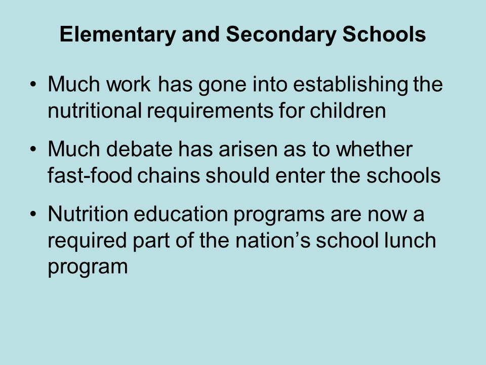 Elementary and Secondary Schools