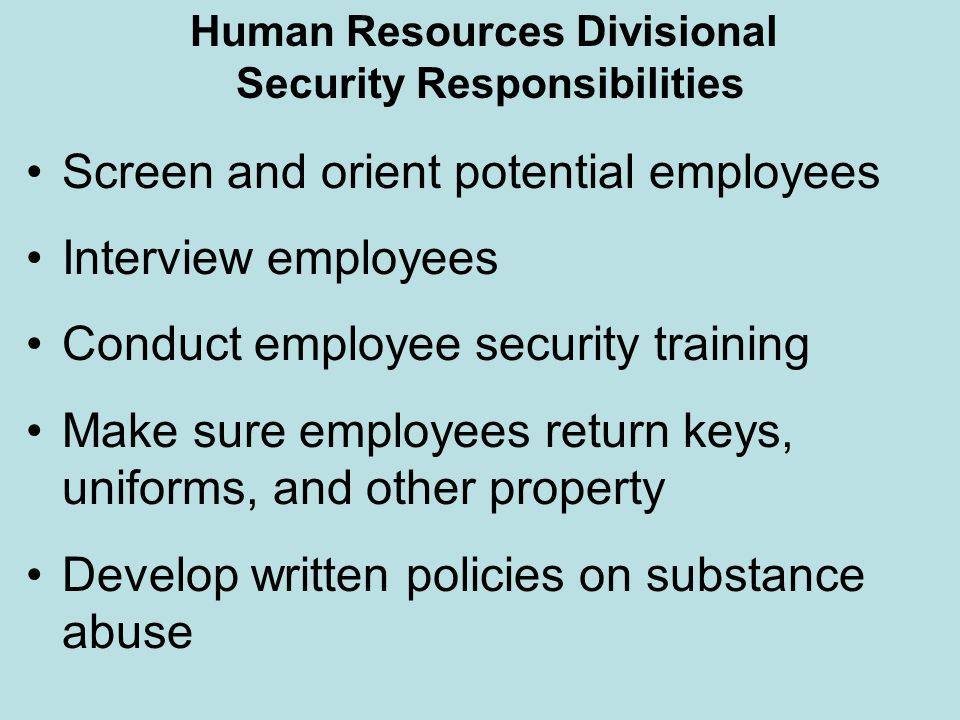 Human Resources Divisional Security Responsibilities