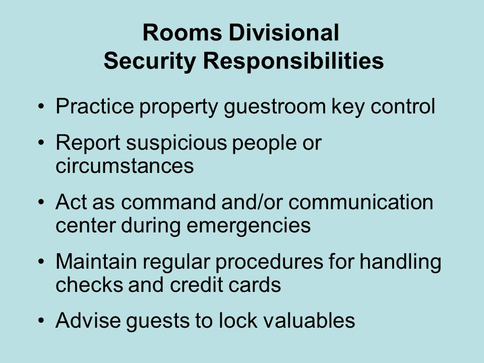 Rooms Divisional Security Responsibilities