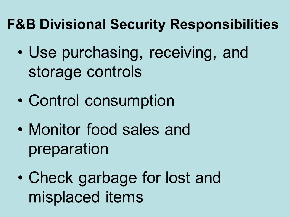 F&B Divisional Security Responsibilities