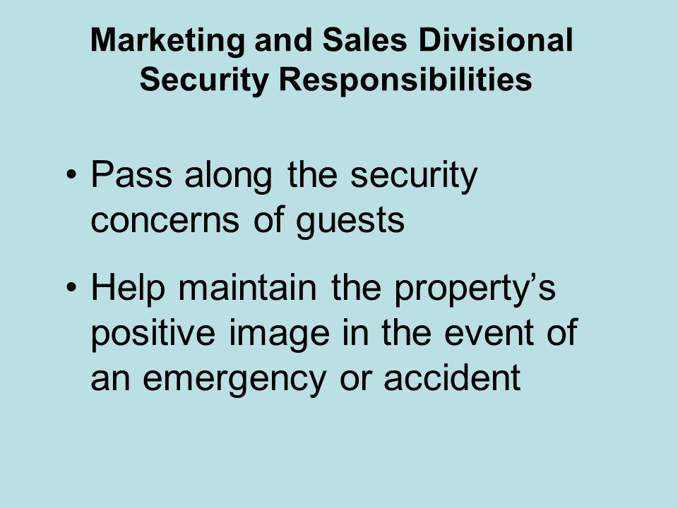 Marketing and Sales Divisional Security Responsibilities