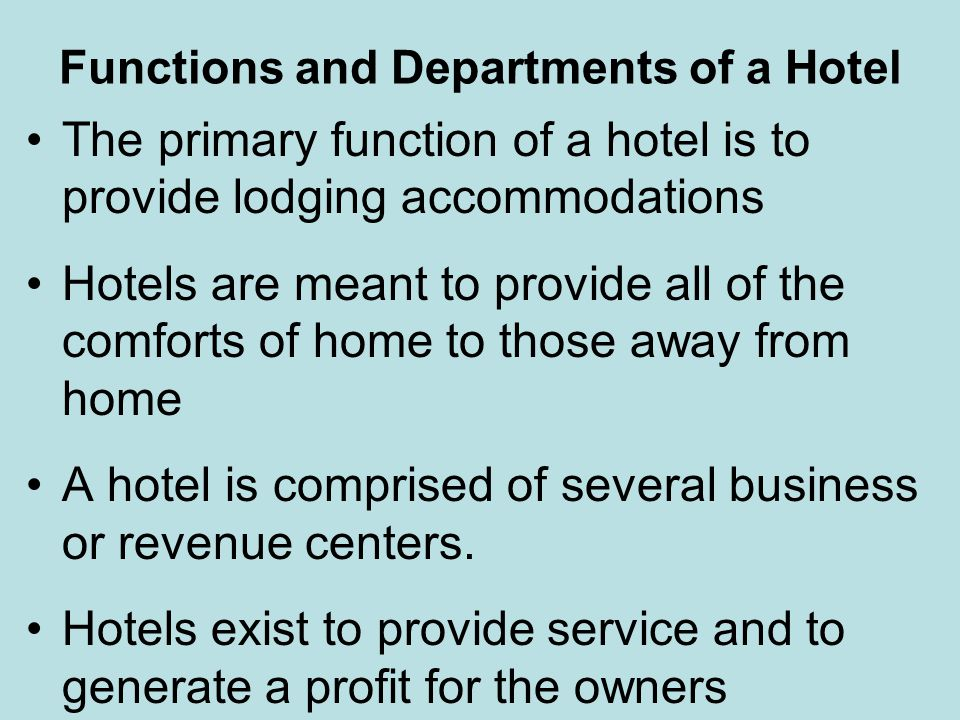 Functions and Departments of a Hotel