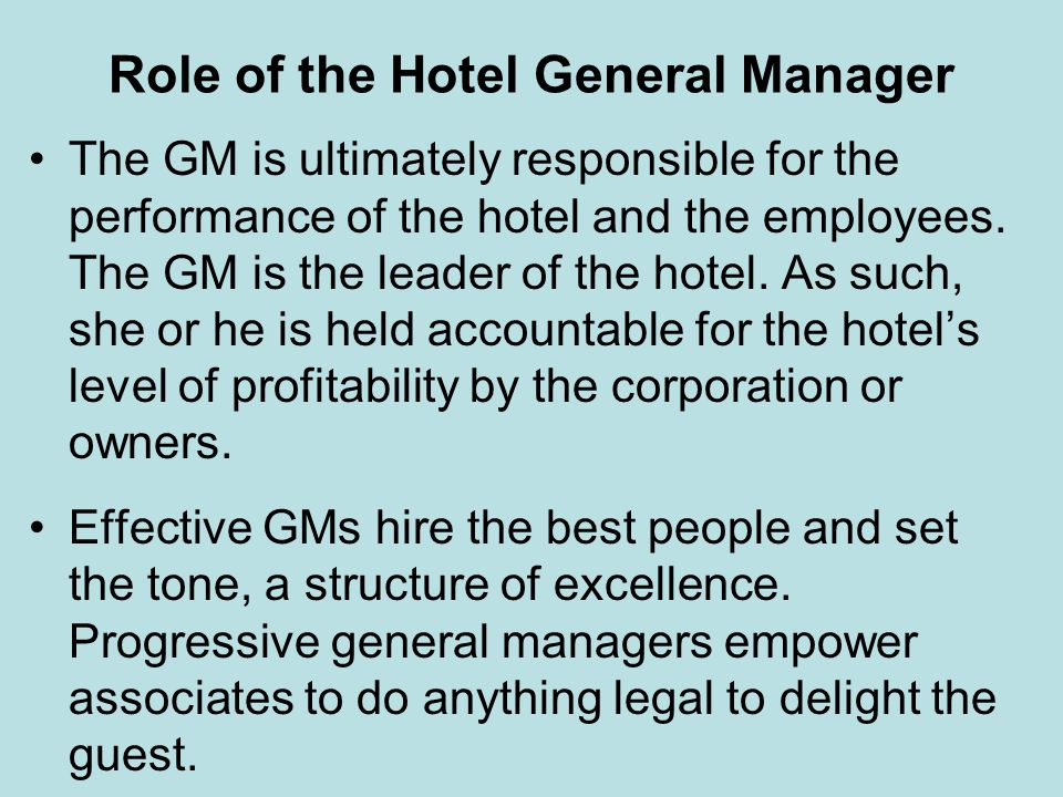 Role of the Hotel General Manager