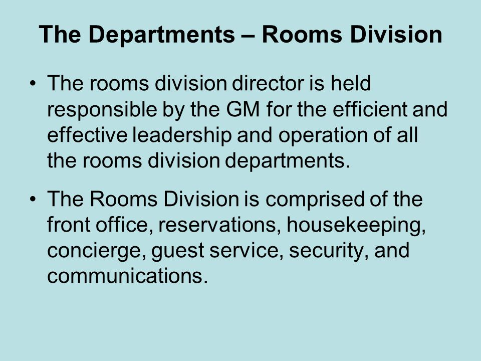 The Departments – Rooms Division