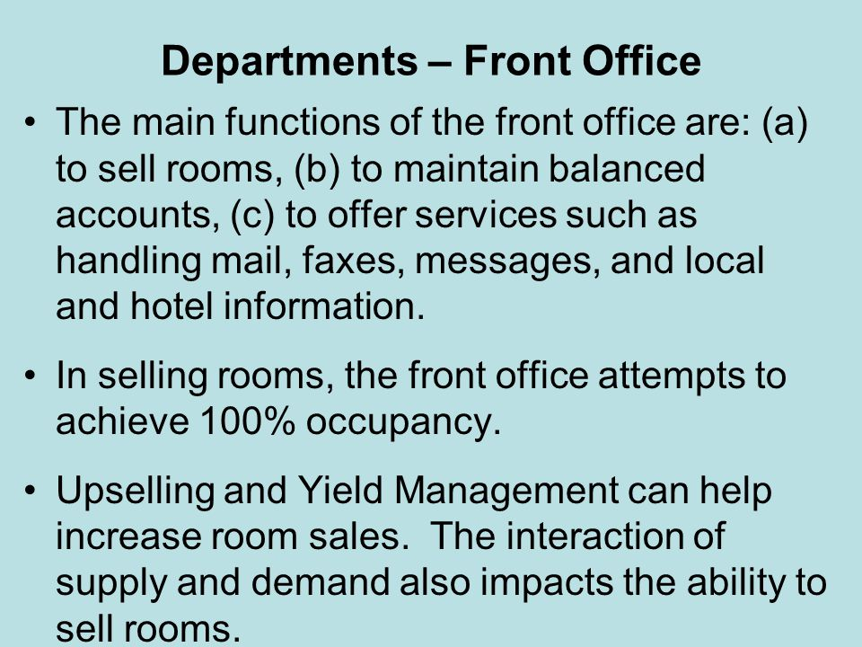 Departments – Front Office