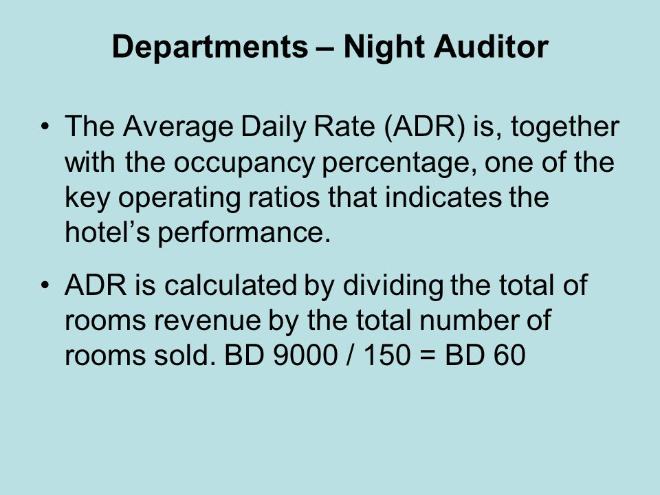 Departments – Night Auditor