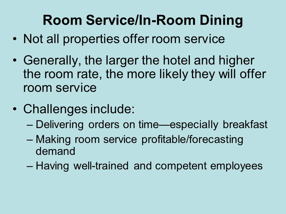 Room Service/In-Room Dining