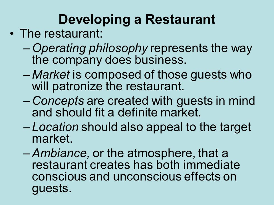 Developing a Restaurant