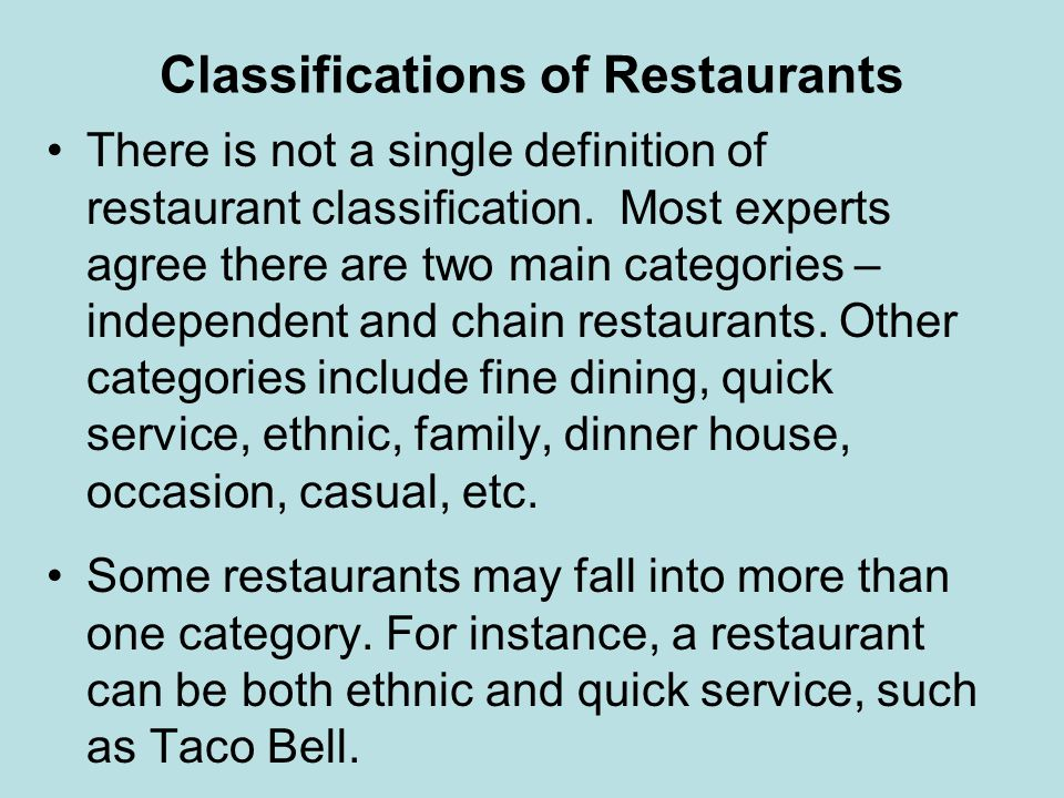 Classifications of Restaurants