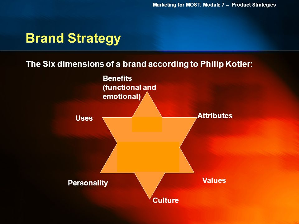 Brand Strategy The Six dimensions of a brand according to Philip Kotler: Benefits (functional and emotional)