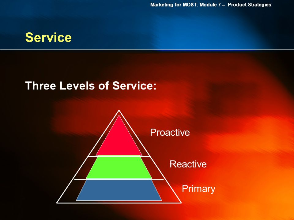 Service Three Levels of Service: Proactive Reactive Primary