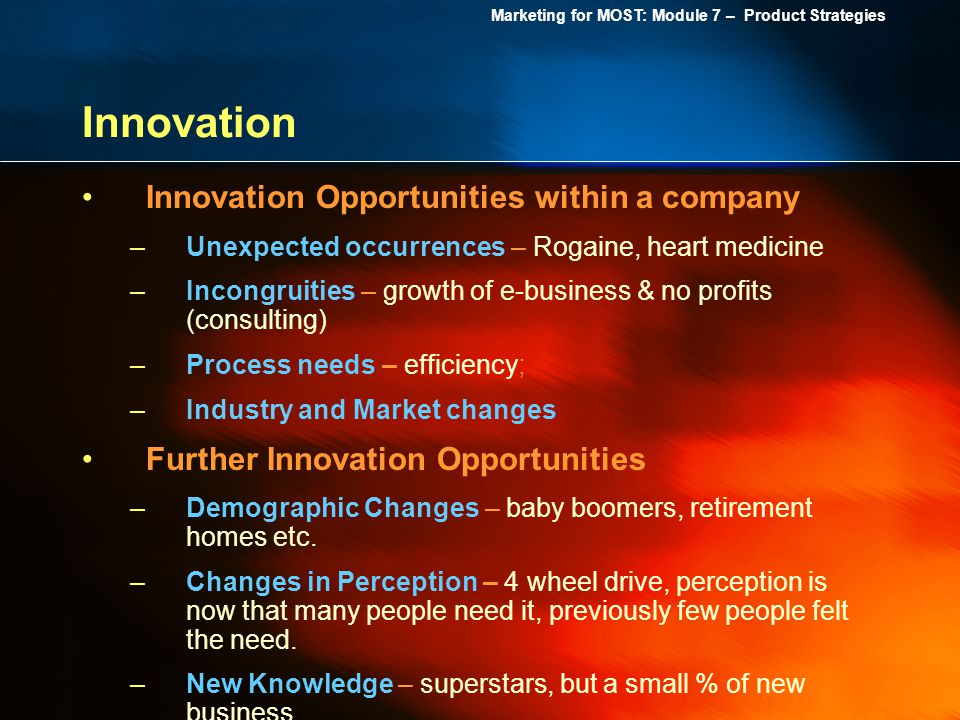 Innovation Innovation Opportunities within a company