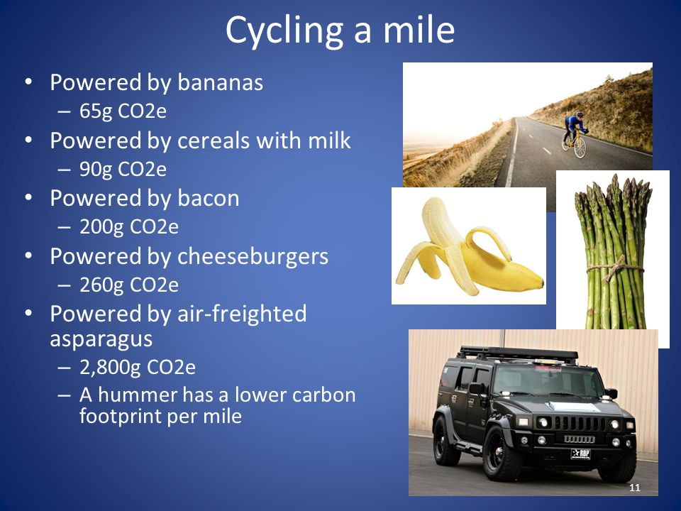 Cycling a mile Powered by bananas Powered by cereals with milk
