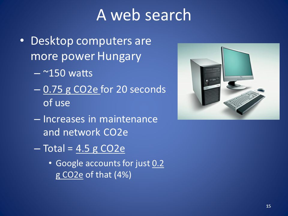 A web search Desktop computers are more power Hungary ~150 watts