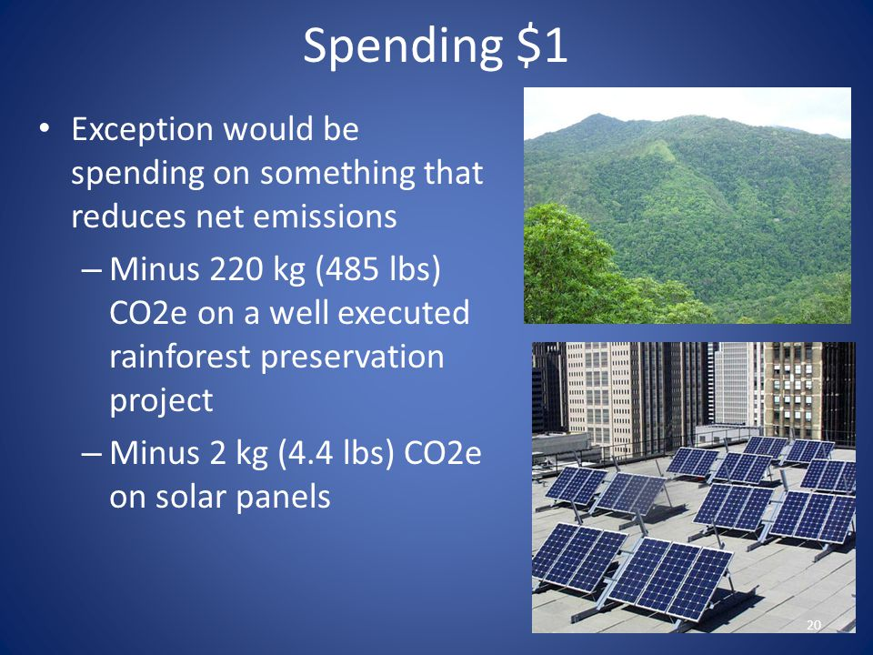 Spending $1 Exception would be spending on something that reduces net emissions.