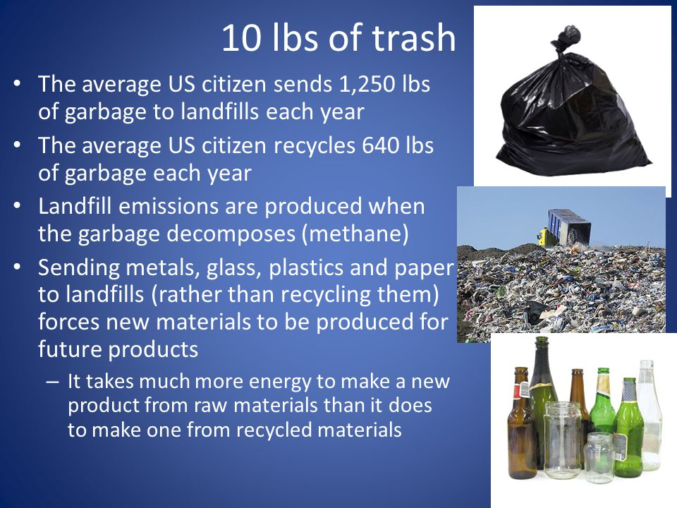 10 lbs of trash The average US citizen sends 1,250 lbs of garbage to landfills each year.