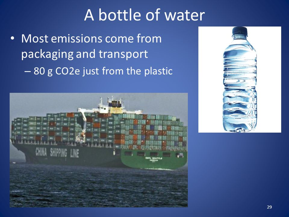 A bottle of water Most emissions come from packaging and transport