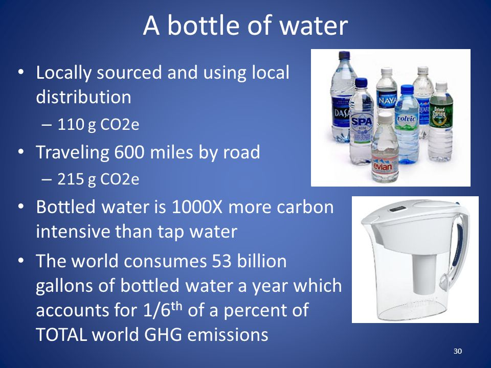 A bottle of water Locally sourced and using local distribution