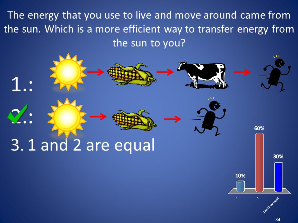 The energy that you use to live and move around came from the sun