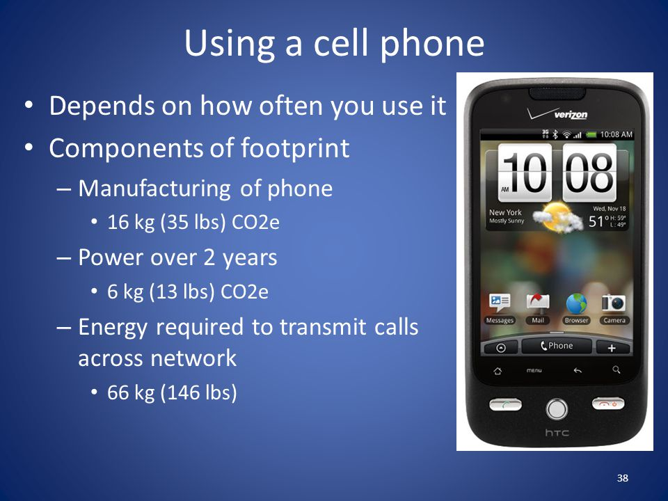 Using a cell phone Depends on how often you use it