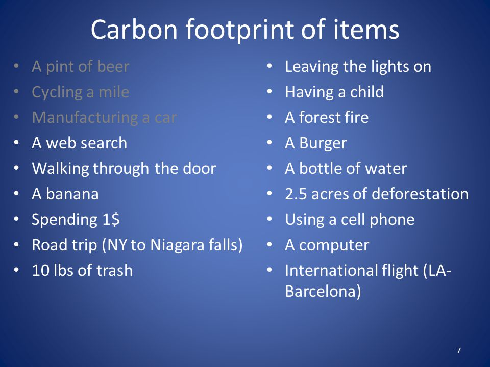 Carbon footprint of items